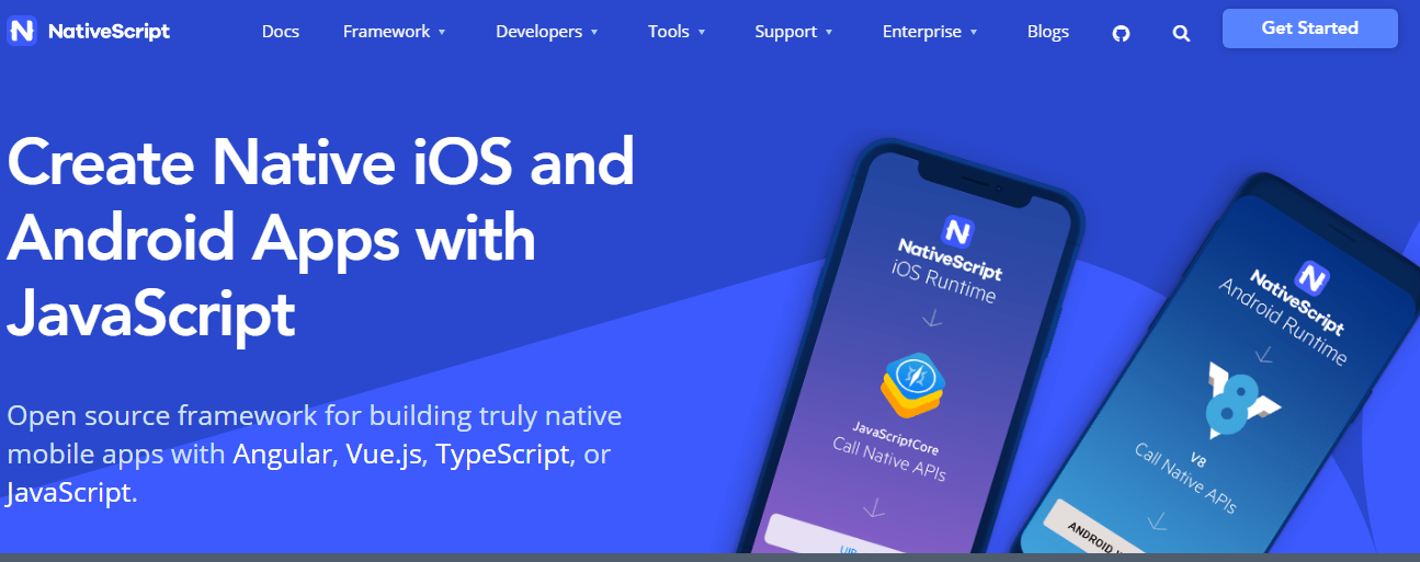 NativeScript is an open-source framework for mobile app development platforms